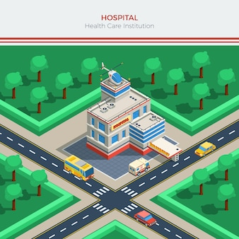 Isometrischer stadterbauer mit krankenhausgebäude