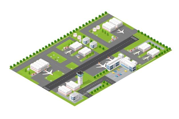 Isometrischer stadtflughafen
