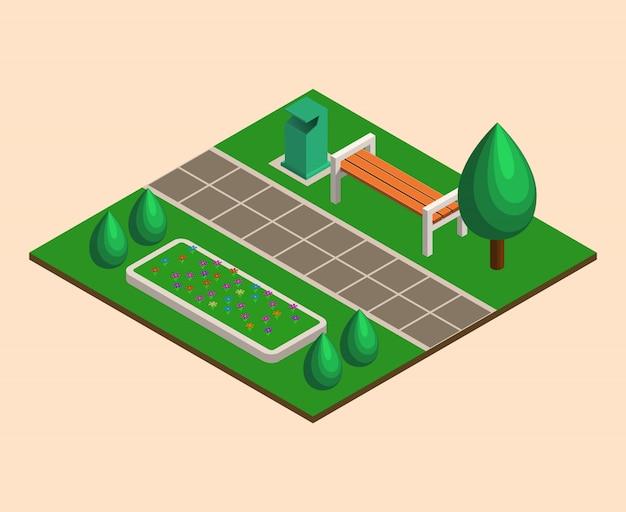 Isometrischer stadtpark, bäume, bänke, blumenbeete, müll