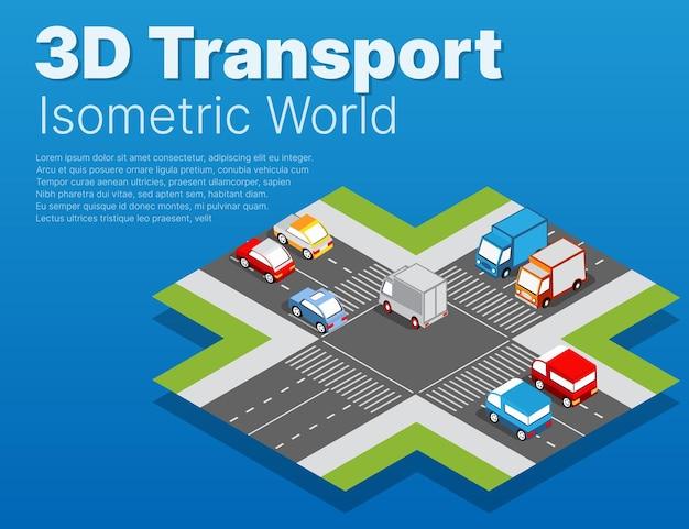 Isometrischer stadtplan-umgebungssatz mit transportelementen.