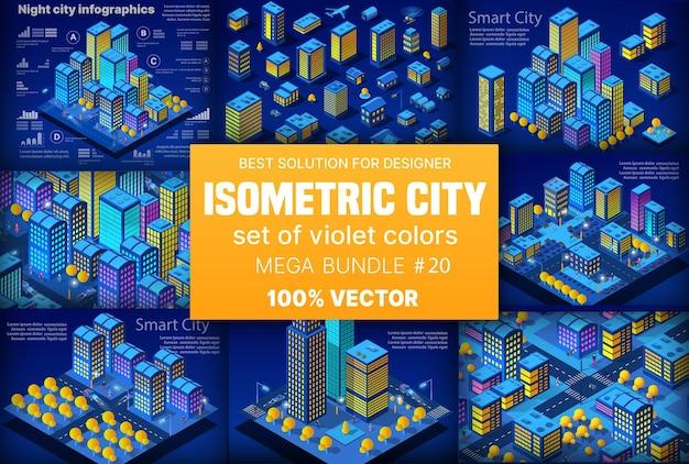 Isometrischer stadtsatz der nachtneon von 3d modulblock-bezirksstadt mit straßenstraßenbau-wolkenkratzer von städtischer infrastrukturvektorarchitektur. moderne helle illustration für spieldesign.