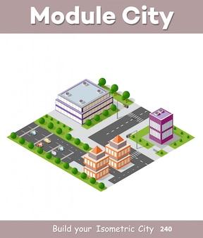 Isometrischer städtischer wolkenkratzer