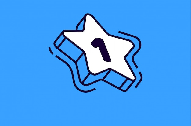 Isometrischer stern mit der nummer eins auf blau