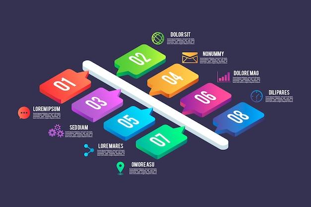 Isometrischer stil der infografik-elemente
