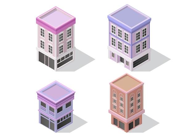 Isometrischer stil satz des alten restaurant- oder ladengebäudes. vektor-illustration