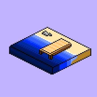 Isometrischer strand mit pixel-art-stil