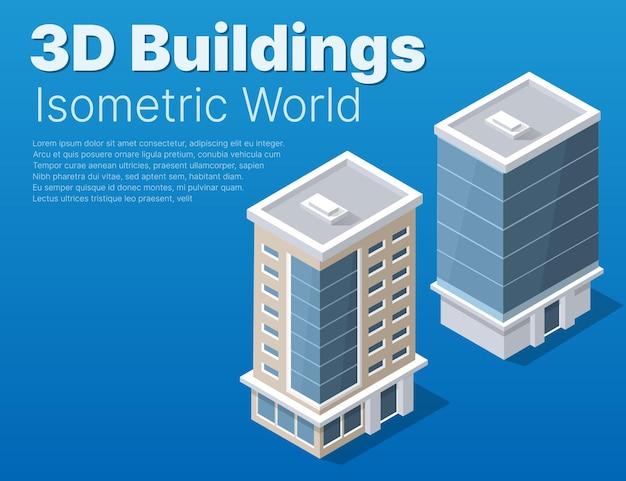 Isometrischer straßenbezirksteil der stadt mit straßengebäuden im freien.