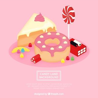 Isometrischer süßigkeitslandhintergrund