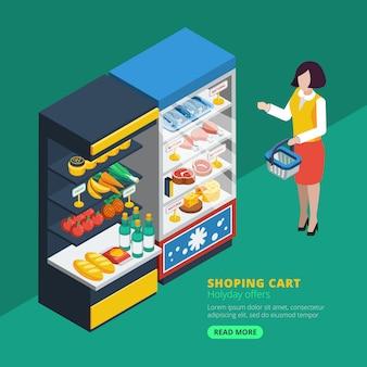 Isometrischer supermarkt innenraum