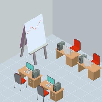 Isometrischer tagungsraum mit arbeitsplatz
