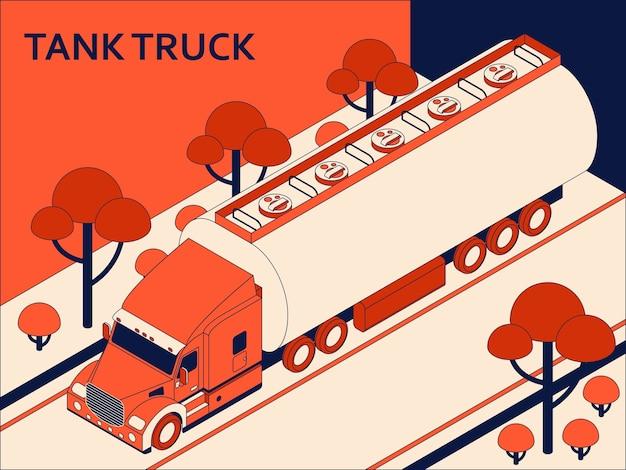 Isometrischer tankwagen für transportöl und erdöl auf der straße. frachttransportkonzept