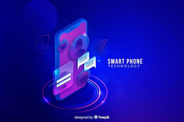 Isometrischer technologiehintergrund steigung smartphone