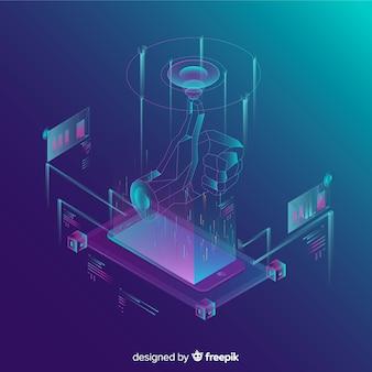 Isometrischer tecnology abstrakter hintergrund