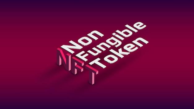 Isometrischer text für nicht fungiblen nft-token auf dunkelrotem hintergrund. bezahle für einzigartige sammlerstücke in spielen oder kunst. gestaltungselement. vektor-illustration.
