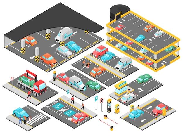 Isometrischer tiefgaragenparkplatz mit mehreren ebenen mit isolierten konstrukteurselementen für parkplatzebenen mit autoillustration