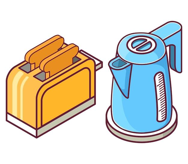 Isometrischer toaster und wasserkocher