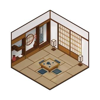Isometrischer traditioneller japanischer raum