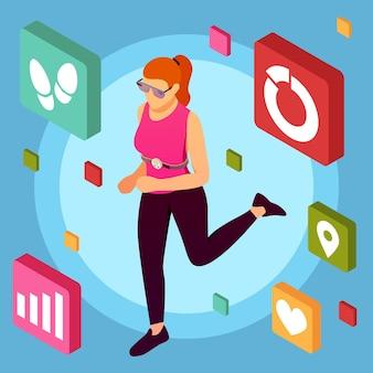 Isometrischer tragbarer sportgerätehintergrund mit weiblichem menschlichem charakter, der übungen mit piktogrammen der mobilen fitnessanwendungspiktogramme vektorillustration macht