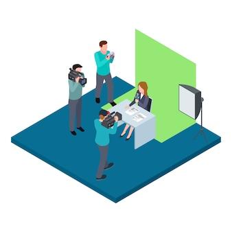 Isometrischer tv-host auf chroma-key-vektor-illustration gefilmt