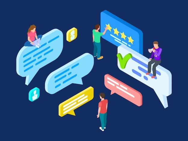 Isometrischer überprüfungsvektor. feedback-konzept mit personen und sprechblasen