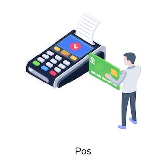 Isometrischer vektor der verkaufsstelle von pos