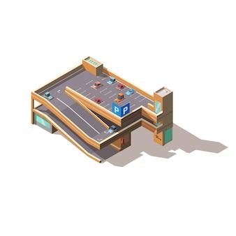 Isometrischer vektor des mehrstufigen autoparkens der stadt