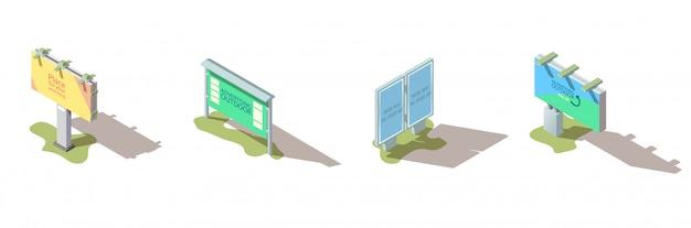 Isometrischer vektorsatz der außenwerbungsanschlagtafel