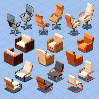 Isometrischer vektorsatz stuhl und sessel. stuhlinnensesselmöbel, isometrischer stuhl, sitzsesselgeschäft oder hauptillustration
