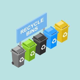 Isometrischer verschiedener wiederverwertungsbehälter in den verschiedenen farben