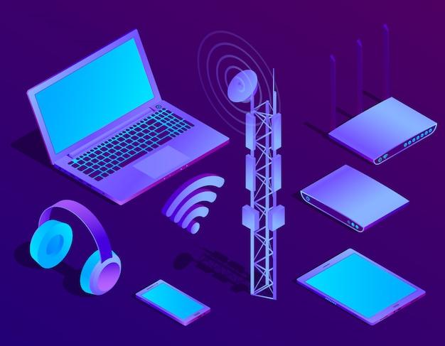Isometrischer violetter laptop 3d, router mit wi-fi und radioverstärker. ultravioletter computer