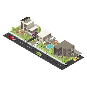 Isometrischer vorstadtbezirk