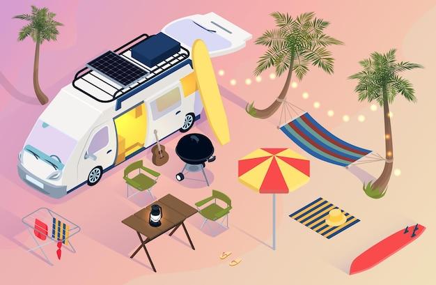 Isometrischer wohnwagensiedlung mit van-surfbrett-regenschirm-hängemattenpalmen am strand während des sonnenuntergangs 3d
