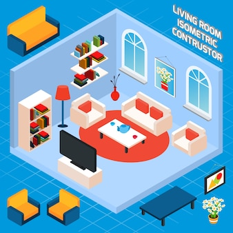 Isometrischer wohnzimmer-innenraum