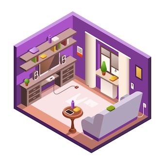 Isometrischer wohnzimmerinnenbereich. gemütlicher moderner raum des hauses 3d im tageslicht
