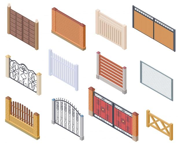 Isometrischer zaun. tore und bauernhof garten verdrahtet sicherheitszäune metallgitter sammlung
