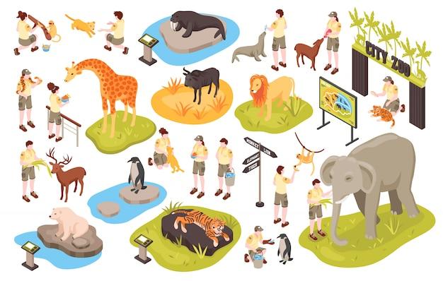 Isometrischer zoo eingestellt mit bildern von menschlichen tiercharakteren des personals und tierparkgegenstands-kektorillustration
