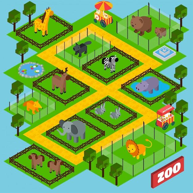 Isometrischer zoo-park