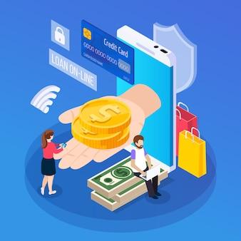 Isometrischer zusammensetzungskunde der online-kreditvergabe mit tragbarem gerät während des erhaltens des darlehens auf blau