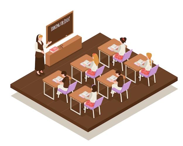 Isometrischer zusammensetzungslehrer der sonntagsschule nahe brett und kindern an den schreibtischen während der illustration des religiösen unterrichts
