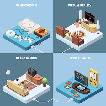 Isometrisches 2x2-designkonzept für gaming-spieler mit bildern von spielekonsolen und wohnzimmern mit personen
