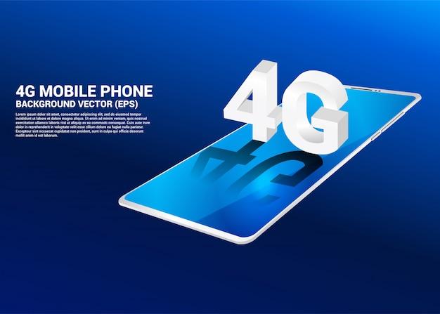 Isometrisches 3d-4g am mobiltelefon. konzept für telekommunikationstechnik und vernetzung.