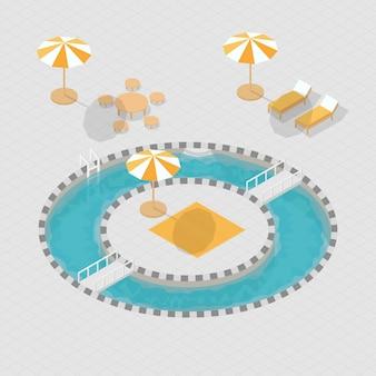 Isometrisches 3d alphabet des swimmingpools 3d