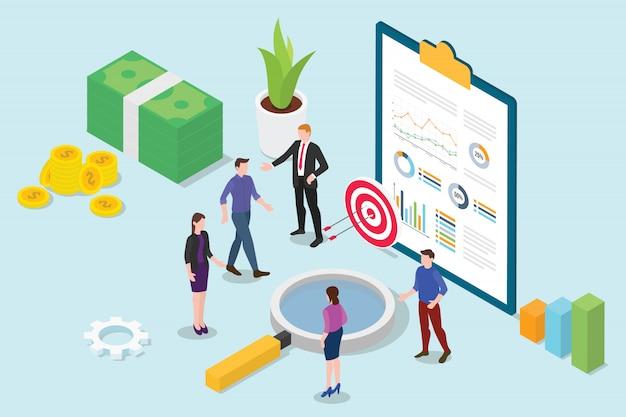 Isometrisches 3d der finanzforschungsanalyse mit geschäftsteam-leutetreffen