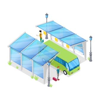 Isometrisches 3d der städtischen bushaltestelle