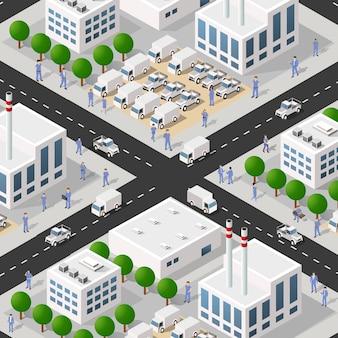 Isometrisches 3d des stadtviertels des industriebezirks mit straßen.