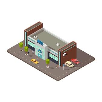 Isometrisches 3d-einkaufszentrum oder einkaufszentrum mit menschen, taxi und parken mit autosikonenvektor