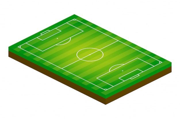 Isometrisches 3d-fußballfeld. sportthemaillustration, fußball-sportplatz, stadion.
