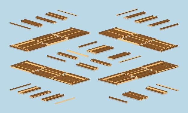 Isometrisches 3d-holz, das auf wasser schwimmt
