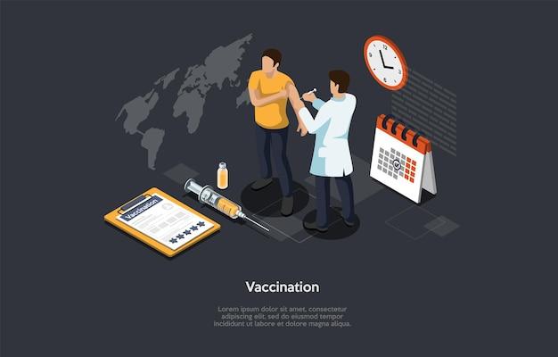 Isometrisches 3d-konzept der impfung der coronavirus-population, immunitätsschutz, infektionsprävention. man doctor macht impfstoff zu einem patienten, um eine virusinfektion zu verhindern. karikatur-vektor-illustration.