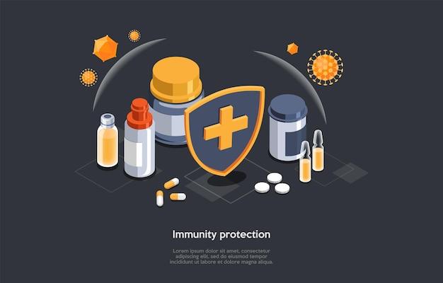 Isometrisches 3d-konzept des immunitätsschutzes und der verhinderung eines schwachen immunsystems. nahrungsergänzungsmittel, vitamine mit einem virusvirus. medizinische prävention human germ. karikatur-vektor-illustration.